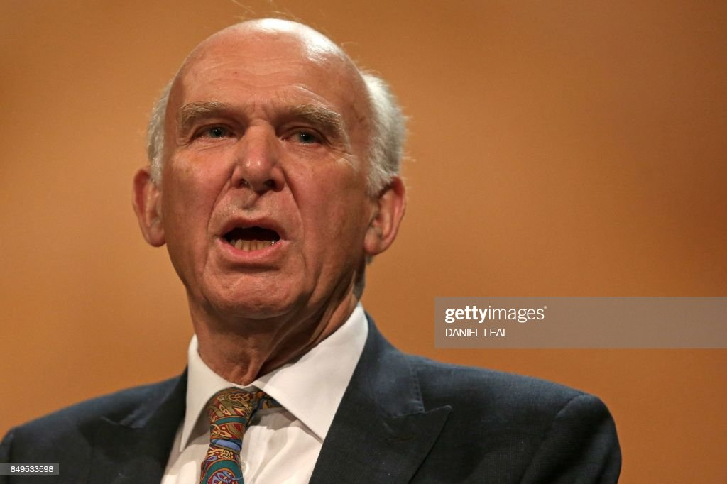Britain's leader of the Liberal Democrats, Vince Cable delivers his Keynote Speech at the party's annual conference in Bournemouth, southern England, on September 19, 2017.