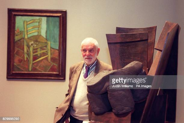 Britain's leading sculptor Sir Anthony Caro poses with one of his series of works inspired by Van Gogh's 'Chair' The exhibition at the National...