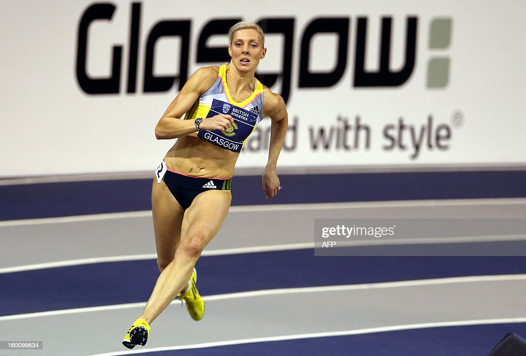 Britain's Lee McConnell of Great Britain competes in the Women's 200m during The British Athletics Glasgow International Match at The Emirates Arena in Glasgow, Scotland, on January 26, 2013.