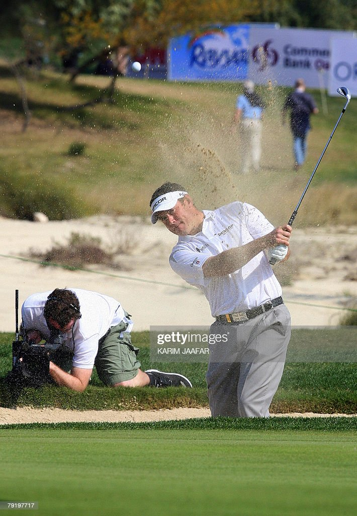 Britain's Lee Westwood takes part in the Qatar Masters Golf Tournament, 24 January 2008 in Doha. Westwood, the joint runner-up at the Abu Dhabi Golf Championship along with Swede Henrik Stenson, continued his brilliant early season form, shooting a five-under-par 67 to share the lead with South African Anton Haig in the first round of the 2.5-million-dollar Qatar Masters today.