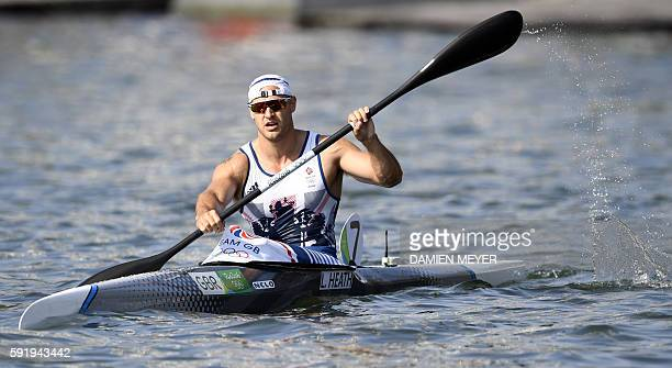 Britain's Liam Heath competes in the Men's Kayak Single 200m event at the Lagoa Stadium during the Rio 2016 Olympic Games in Rio de Janeiro on August...