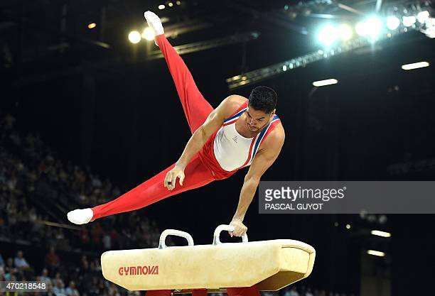 Britain's Louis Smith competes in the Pommel Horse event during the European Men's Artistic Gymnastics Individual Championships in Montpellier...