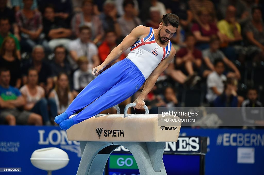 Britain's Louis Smith performs during the Mens Pommel Horse competition of the European Artistic Gymnastics Championships 2016 in Bern, Switzerland on May 28, 2016. / AFP / FABRICE