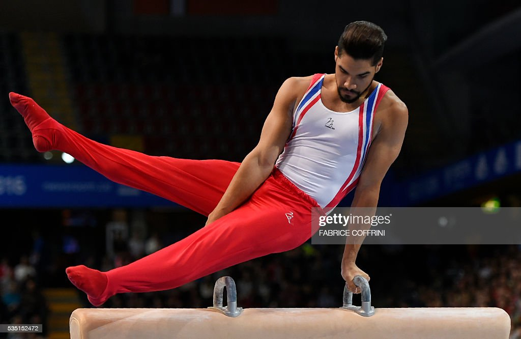 Britains Louis Smith performs during the Mens Pommel Horse competition of the European Artistic Gymnastics Championships 2016 in Bern, Switzerland on May 29, 2016. / AFP / FABRICE
