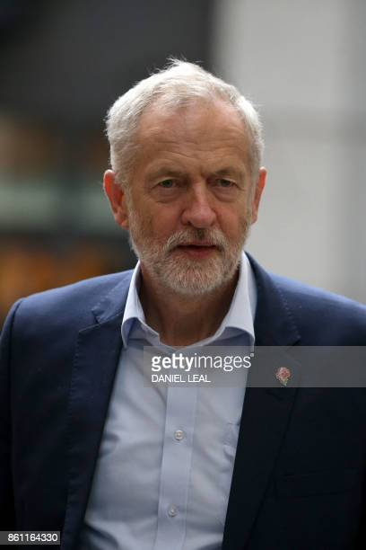 Britain's main opposition Labour Party leader Jeremy Corbyn arrives to attend an event entitled Ideas to Change Britain at the Cooperative Party...
