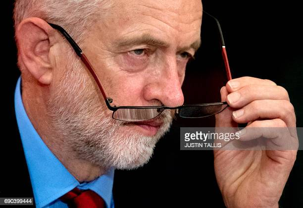 CORRECTION Britain's main opposition Labour party leader Jeremy Corbyn delivers a speech during a general election campaign event in London on May 31...