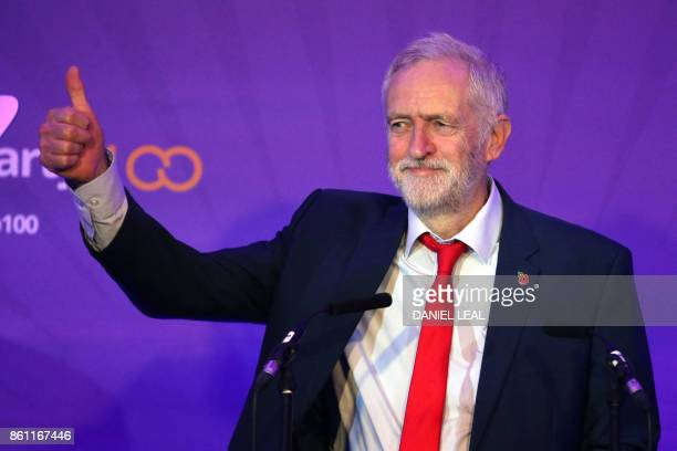 Britain's main opposition Labour Party leader Jeremy Corbyn gestures during an event entitled Ideas to Change Britain at the Cooperative Party...