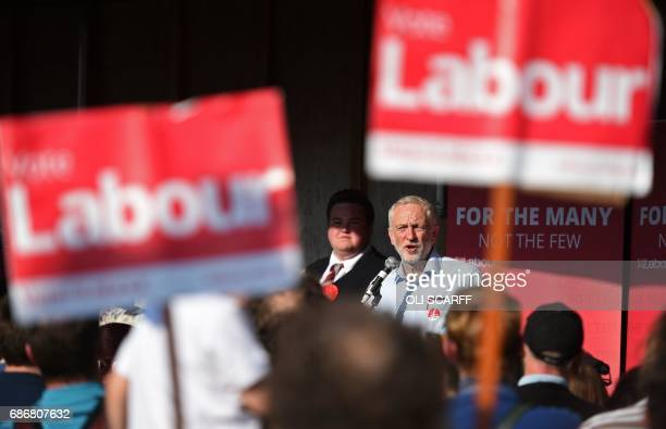 Britain's main opposition Labour Party leader Jeremy Corbyn speaks during a general election campaign event in Goole northern England on May 22 2017...