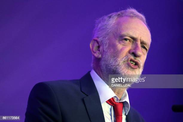 Britain's main opposition Labour Party leader Jeremy Corbyn speaks during an event entitled Ideas to Change Britain at the Cooperative Party...
