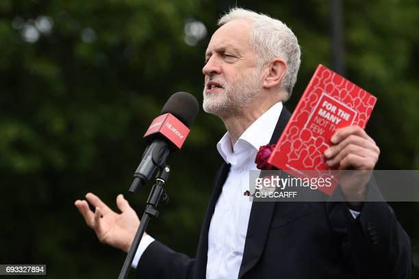 Britain's main opposition Labour Party leader Jeremy Corbyn speaks at a campaign rally in Halton northwest England on June 7 on the eve of the...
