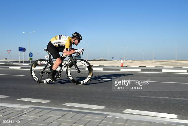 Britain's Mark Cavendish of the Dimension Data team cycles during the individual timetrial of the 2016 Tour of Qatar at Lusail circuit and sports...
