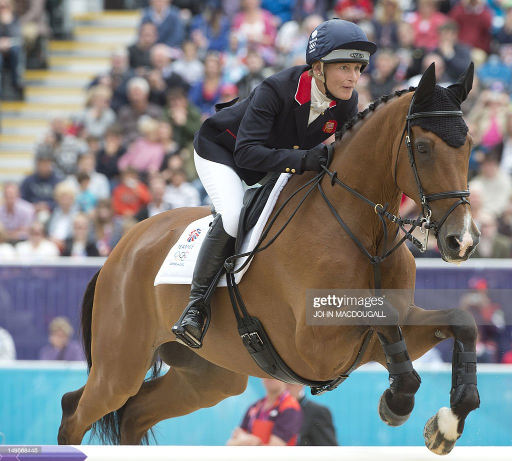 Britain's Mary King competes on Imperial Cavalier in the team Show Jumping phase of the Eventing competition of the 2012 London Olympics at the Equestrian venue in Greenwich Park, London, July 31, 2012. AFP PHOTO / JOHN MACDOUGALL