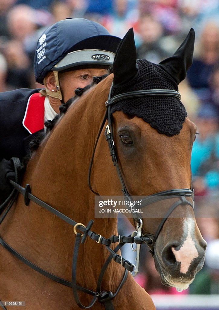 Britain's Mary King competes on Imperial Cavalier in the team Show Jumping phase of the Eventing competition of the 2012 London Olympics at the Equestrian venue in Greenwich Park, London, July 31, 2012.