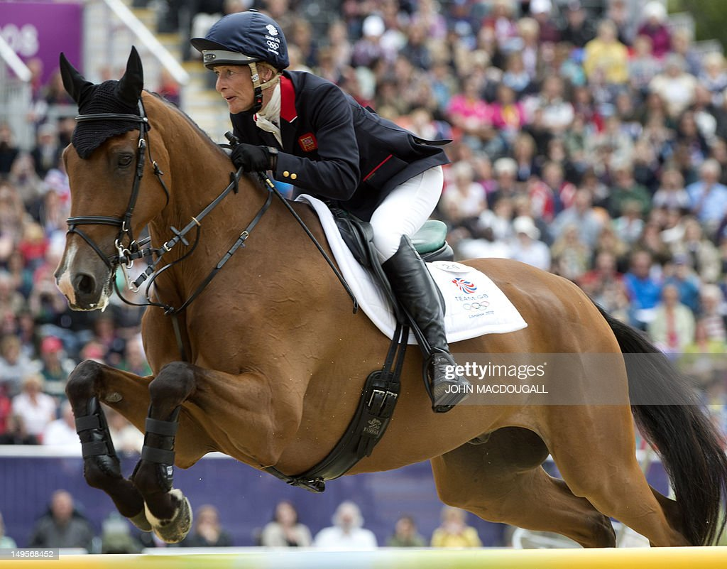 Britain's Mary King competes on Imperial Cavalier in the team Show Jumping phase of the Eventing competition of the 2012 London Olympics at the Equestrian venue in Greenwich Park, London on July 31, 2012.
