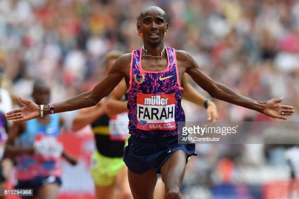 Britain's Mo Farah wins the men's 3000m during the IAAF Diamond League Anniversary Games athletics meeting at the Queen Elizabeth Olympic Park...
