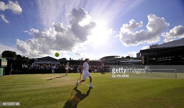 Britain's Neal Skupski and Naomi Broadi play against Coumbia's Robert Farah and Croatia's Darija Jurak during their mixed doubles first round match...