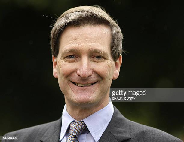 Britain's new Conservative Party Shadow Home Secretary Dominic Grieve makes a statement to the media outside London's Houses of Parliament on June 12...