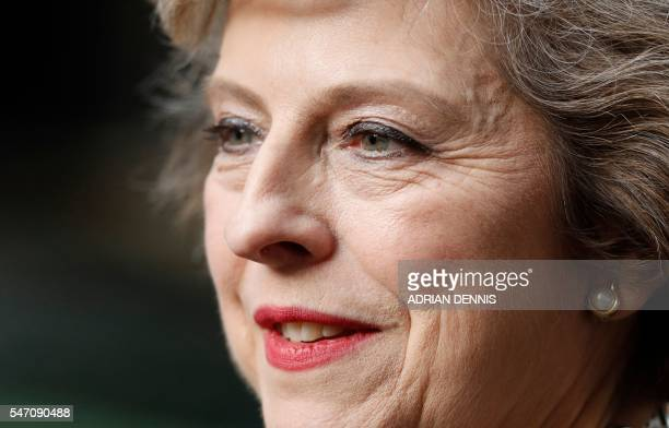 Britain's new Prime Minister Theresa May speaks outside 10 Downing Street in central London on July 13 2016 on the day she takes office following the...