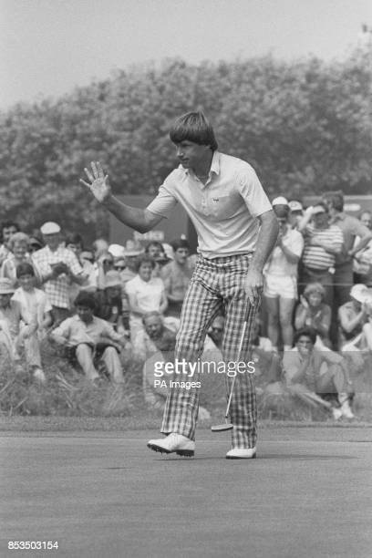 Britain's Nick Faldo shows his delight after a birdie three He had completed a threeunderpar round of 68 to join the leaders in the 1983 Open Golf...