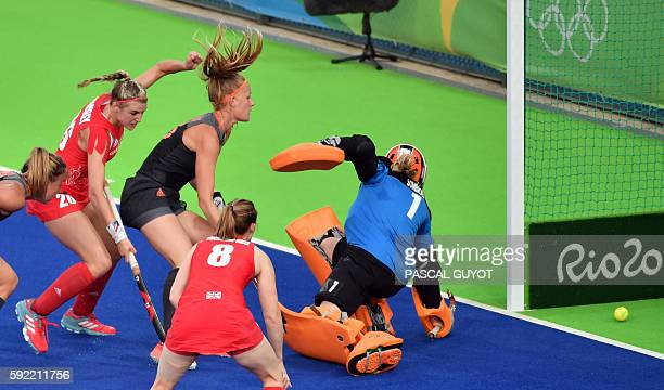 Britain's Nicola White scores a goal during the women's Gold medal hockey Netherlands vs Britain match of the Rio 2016 Olympics Games at the Olympic...