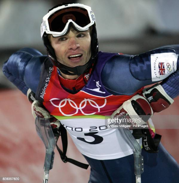 Britains Noel Baxter competes second run in the Mens Combined Slalom during the Winter Olympics Sestriere Italy