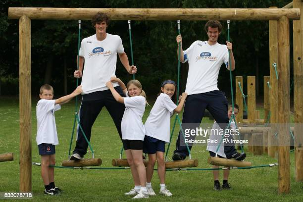 Britain's number one tennis player and RBS Ambassador Andy Murray and Jamie Murray launch the second phase of Supergrounds at St John Fisher RC...
