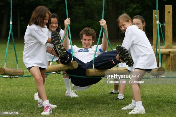 Britain's number one tennis player and RBS Ambassador Andy Murray launches the second phase of Supergrounds at St John Fisher RC Primary School in...