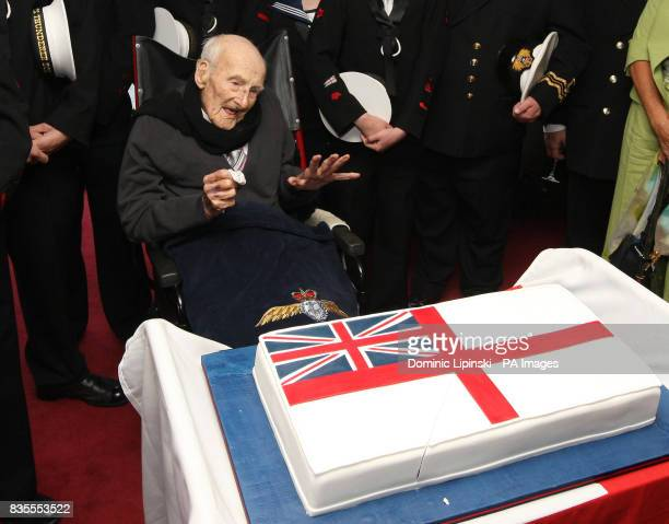 Britain's oldest man and oldest surviving First World War veteran Henry Allingham celebrates his 113th birthday at a party hosted by the Royal Navy...