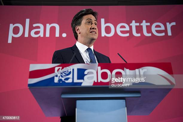 Britain's Opposition Labour Party Leader Ed Miliband launches his party's Manifesto for Young People at Bishop Grosseteste University in Lincoln in...