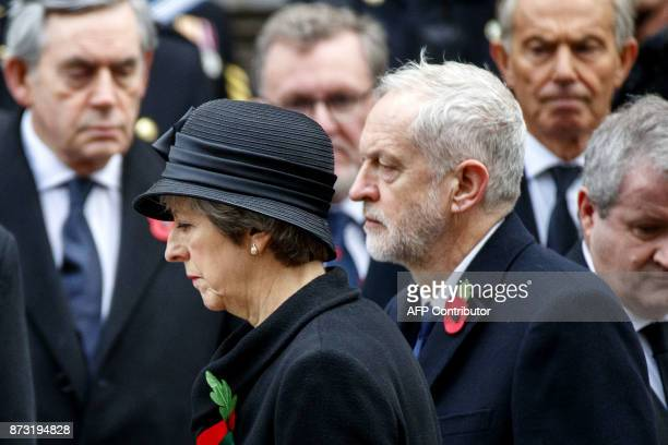 Britain's opposition Labour Party Leader Jeremy Corbyn and British prime minister Theresa May attend the Remembrance Sunday ceremony at the Cenotaph...