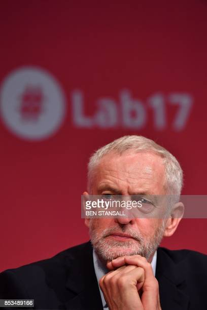 Britain's opposition Labour party leader Jeremy Corbyn attends the second day of the Labour Party Conference in Brighton on September 25 2017 / AFP...