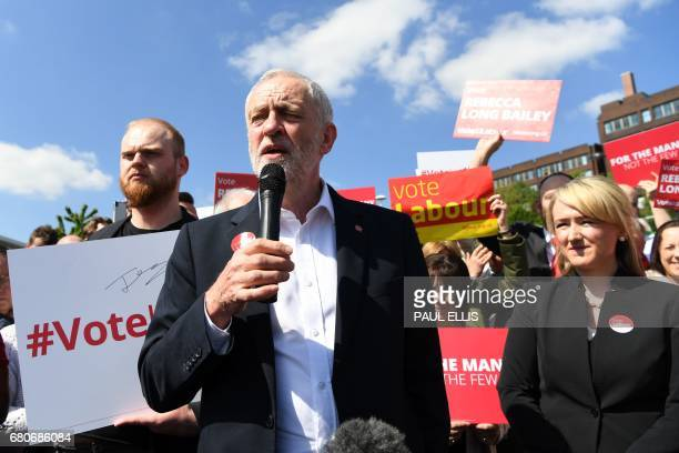 Britain's opposition Labour party Leader Jeremy Corbyn campaigns in Salford with Labour MP for Salford and Eccles Rebecca LongBailey following his...