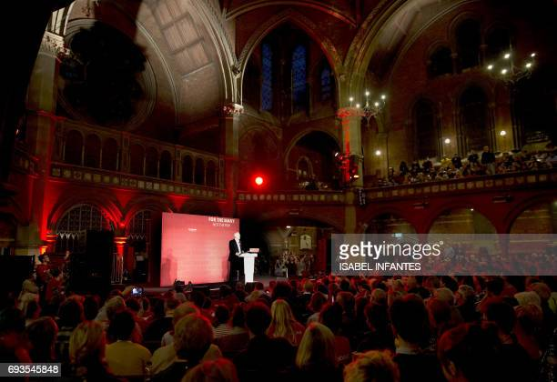 Britain's opposition Labour Party leader Jeremy Corbyn delivers his final campaign speech at an election rally at Union Chapel in Islington north...
