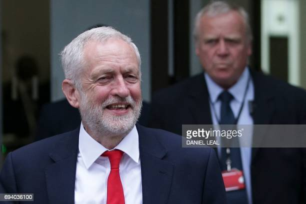 Britain's opposition Labour party Leader Jeremy Corbyn leaves the Labour Party headquarters in central London on June 9 2017 after results in a snap...