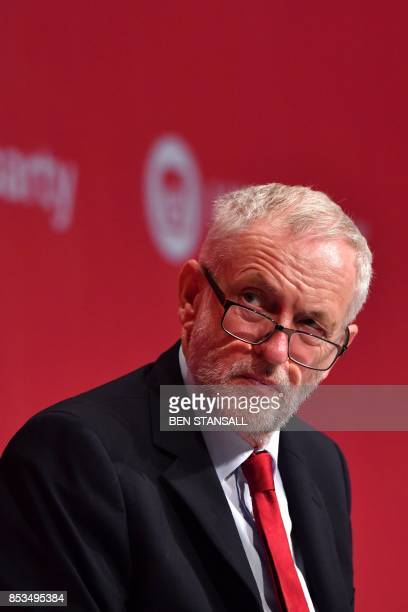 Britain's opposition Labour party leader Jeremy Corbyn listens to Opposition Labour Party Shadow Foreign Secretary Emily Thornberry as he attends the...