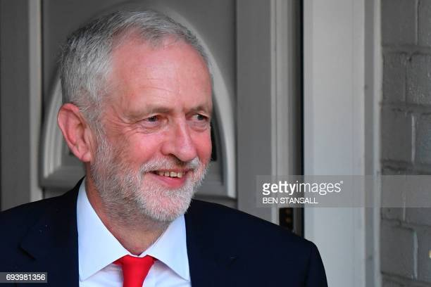 Britain's opposition Labour party Leader Jeremy Corbyn reacts as he leaves his home in north London on June 9 2017 after results in a snap general...