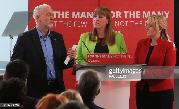 Britain's opposition Labour party Leader Jeremy Corbyn speaks Britain's opposition Labour party's Shadow Business Sectretary Rebecca LongBailey and...