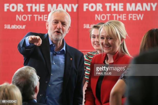 Britain's opposition Labour party Leader Jeremy Corbyn speaks with Britain's opposition Labour party's Shadow Business Sectretary Rebecca LongBailey...
