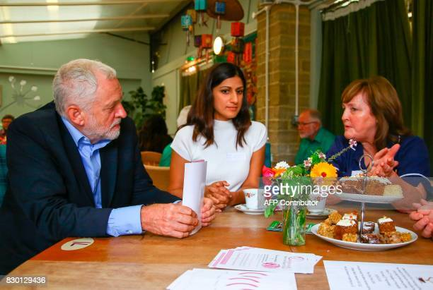 Britain's opposition Labour Party Leader Jeremy Corbyn visits the Manor Garden Centre in Swindon west of London on August 11 where he met volunteers...
