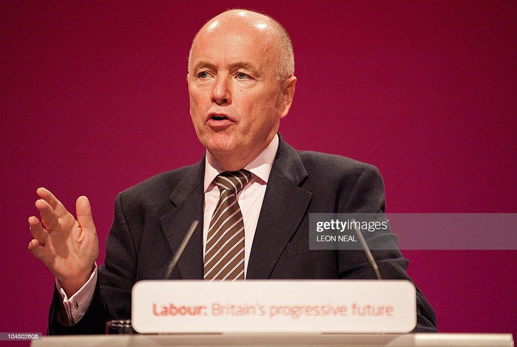 Britain's opposition Labour Party's Jack Dromey MP for Birmingham Erdington and husband of the party's Deputy Leader Harriet Harman addresses...