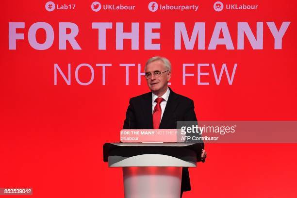 Britain's opposition Labour party's Shadow Chancellor of the Exchequer John McDonnell delivers a speech on the second day of the Labour Party...