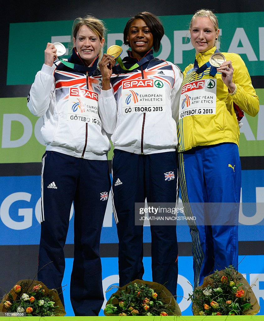 Britain's Perri Shakes-Drayton (C) celebrates winning the women's 400m final on the podium with 2nd place Britain's Eilidh Child (L) and 3rd place Sweden's Moa Hjelmer at the European Indoor athletics Championships in Gothenburg, Sweden, on March 3, 2013. AFP PHOTO / JONATHAN NACKSTRAND