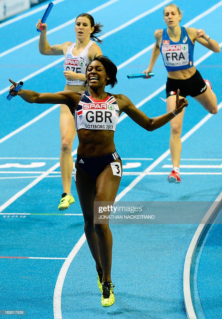 Britain's Perri Shakes-Drayton (front) celebrates winning the women's 400m final on the podium at the European Indoor Athletics Championships in Gothenburg, Sweden, on March 3, 2013.