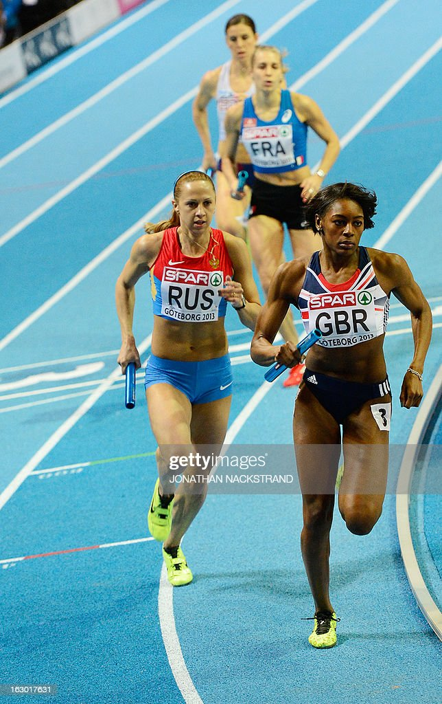 Britain's Perri Shakes-Drayton (R) competes to win the women's 400m final on the podium at the European Indoor Athletics Championships in Gothenburg, Sweden, on March 3, 2013.
