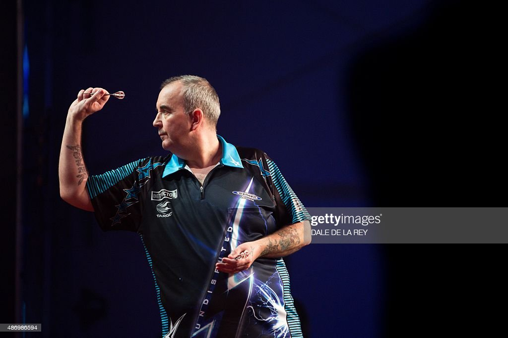 Britain's Phil Taylor competes in the final of the Hong Kong Darts Masters event in the southern Chinese city on September 5 2015 AFP PHOTO / DALE DE...