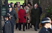 Britain's Phince Philip the Duke of Edinburgh Prince Charles Prince of Wales and Britain's Princess Anne Princess Royal arrive with other members of...