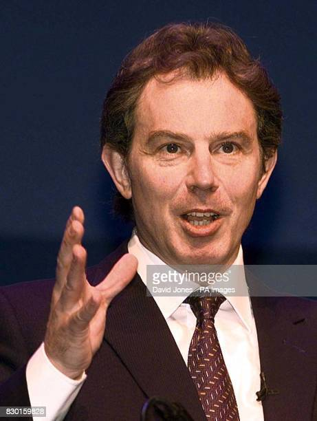 Britain's PM Tony Blair addresses the first ever national conference for representatives of NHS Primary Care Groups in Birmingham Walkin high street...