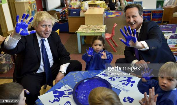 Britain's Prime Minister and leader of the Conservative party David Cameron and Mayor of London and Conservative party candidate for the Uxbridge and...