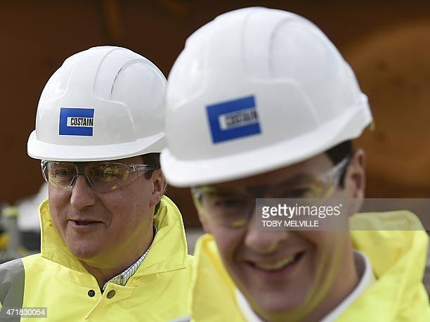 Britain's Prime Minister and leader of the Conservative Party David Cameron and senior Conservative and Chancellor of the Exchequer George Osborne...