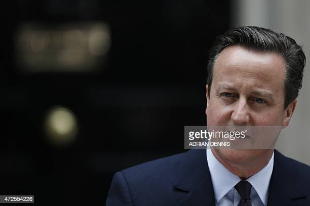 Britain's Prime Minister and Leader of the Conservative Party David Cameron addresses the nation outside 10 Downing Street in London on May 8 a day...